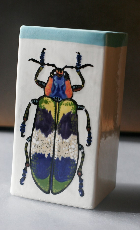 BUG OUT WARE- Jewel Beetle Square Vase