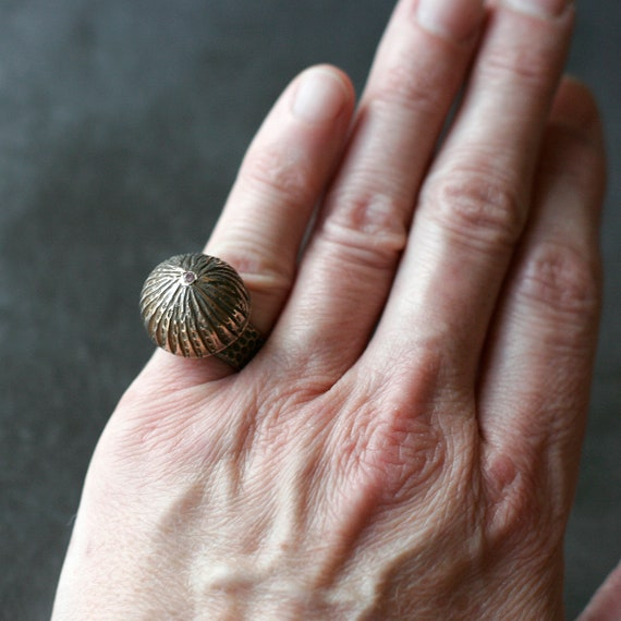 """Bronze """"I Can Buy MY OWN D*** Flowers"""" Ring (with 2mm Morganite CZ)"""