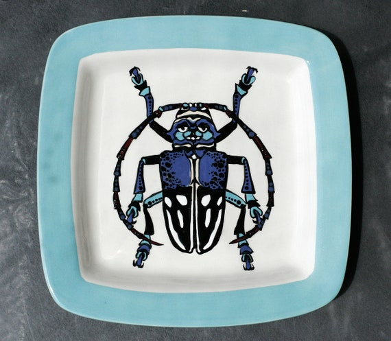 BUG OUT WARE- Square Stacking Art Plate: Two Faces are Better Than One