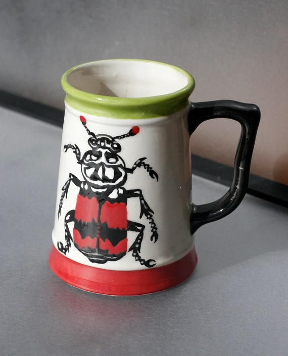 BUG OUT WARE Small Hand Painted Beer Stein