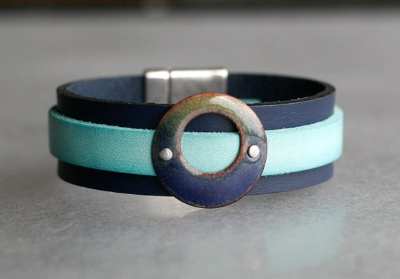 COLOR POP! Navy + Turquoise 2x Leather and Ombre Enamel Bracelet