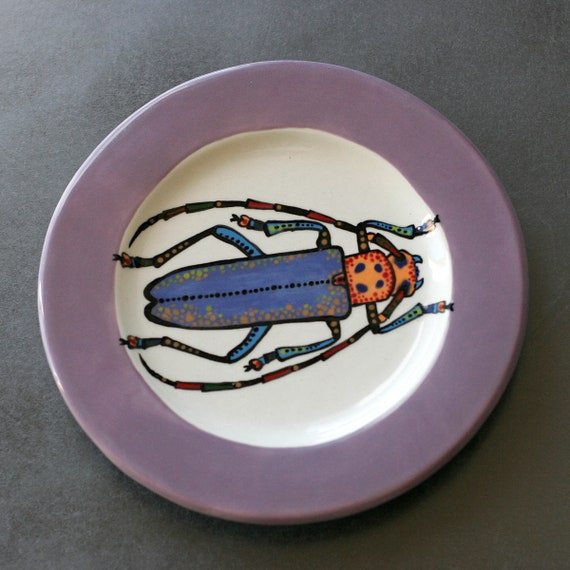BUG OUT WARE Salad Plate-Purple Passion Horned Beetle