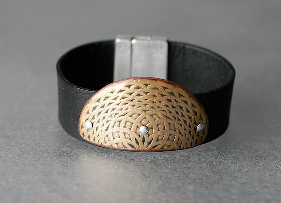 Rising Sun Enamel & Leather Bracelet