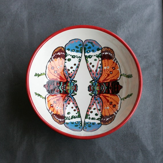BUG OUT WARE Large Serving Bowl: Mothra's Rainbow Cousins