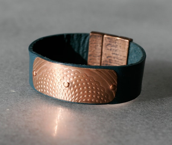 Embossed Mandala Copper & Leather Bracelet