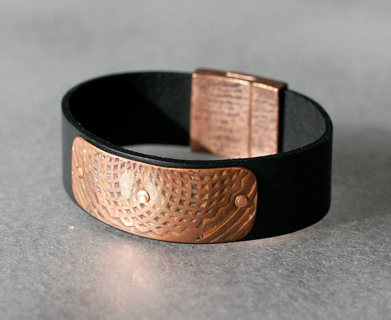 Patinaed Copper & Leather Bracelet