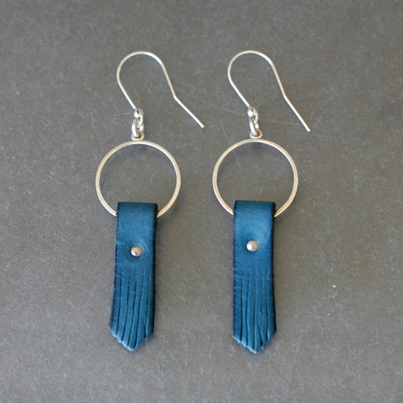 Blue Fringey Leather Earrings