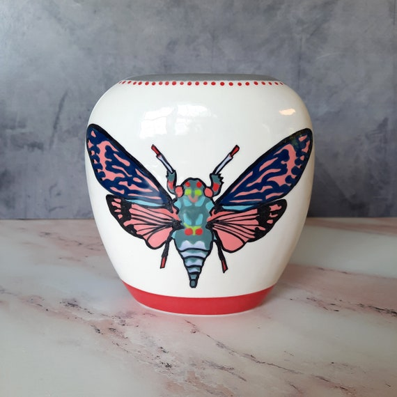 New! BUG OUT WARE Pillow Vase: Psychedelic Cicada Flies High