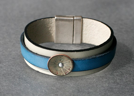 Summery Basse-Taille Enamel on Leather Bracelet