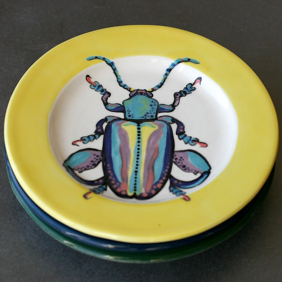 BUG OUT WARE Salad Plate-Sunshine Rainbow Bug