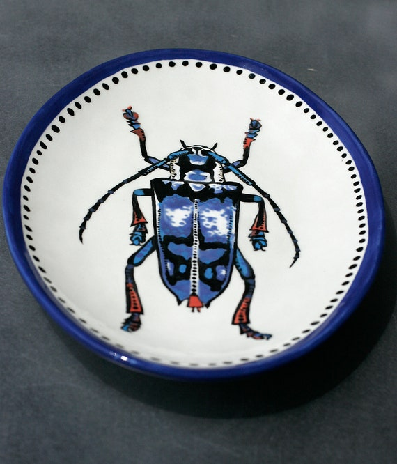 BUG OUT WARE Decorative Art Platter: Blue Hullaballo