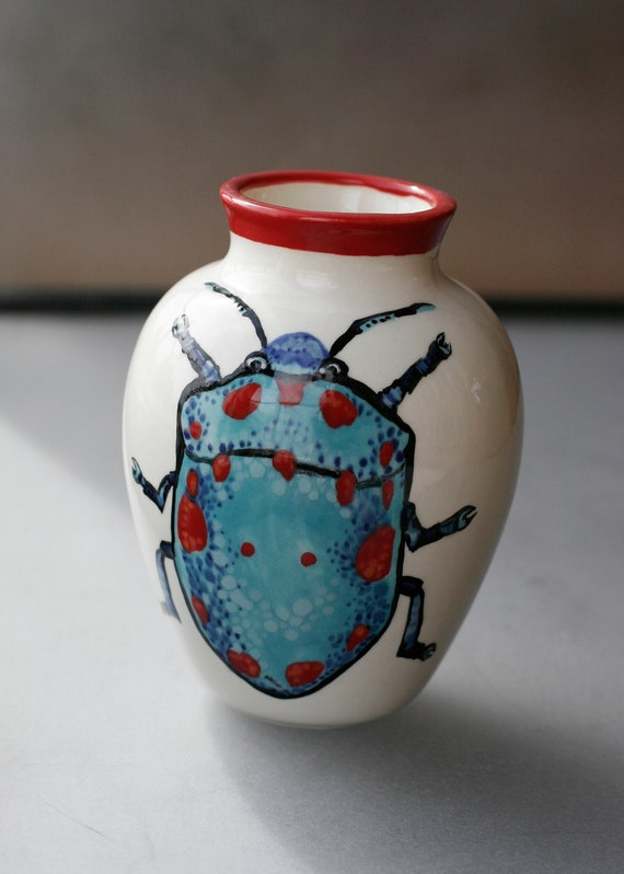 BUG OUT WARE Small Blue & Red Beetle Ceramic Vase