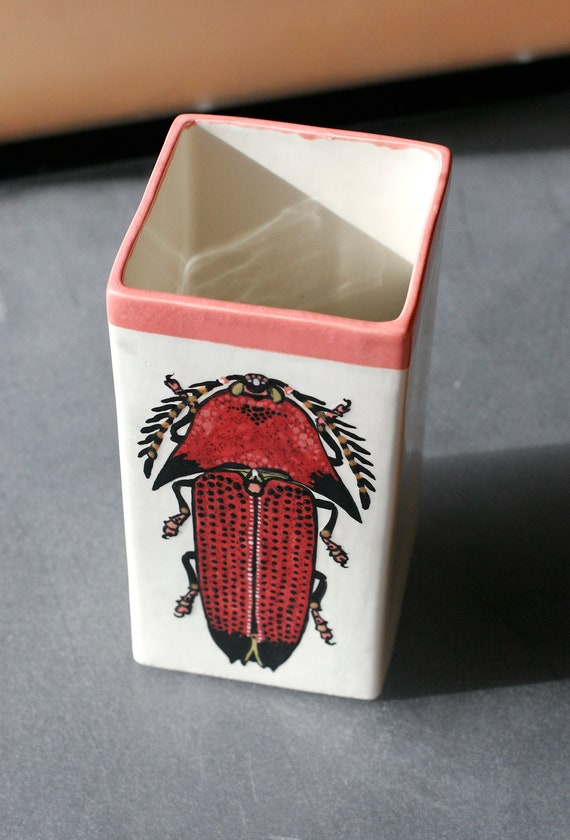 BUG OUT WARE- Large Hand Painted Square Ceramic Vase