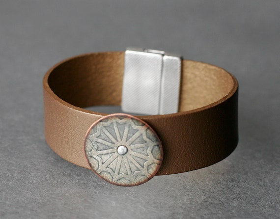 Industrial Patterned Enamel & Leather Bracelet