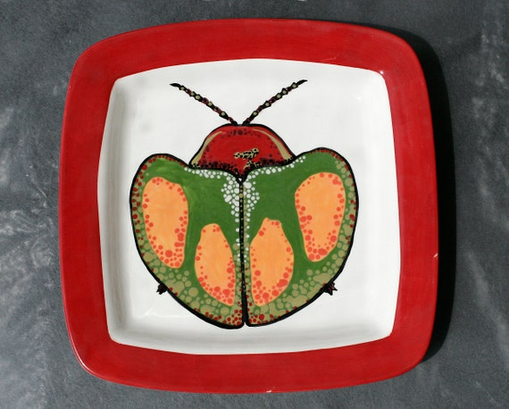 BUG OUT WARE- Square Stacking Art Plate: G&R Saucer Bug