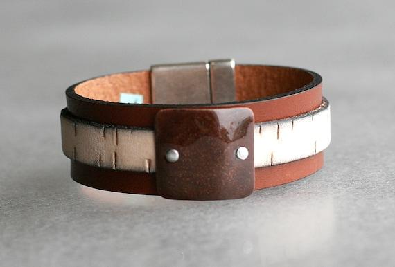 COLOR POP! Tobacco + Birch Bark Patterned 2x Leather and Mandarin Enamel Bracelet