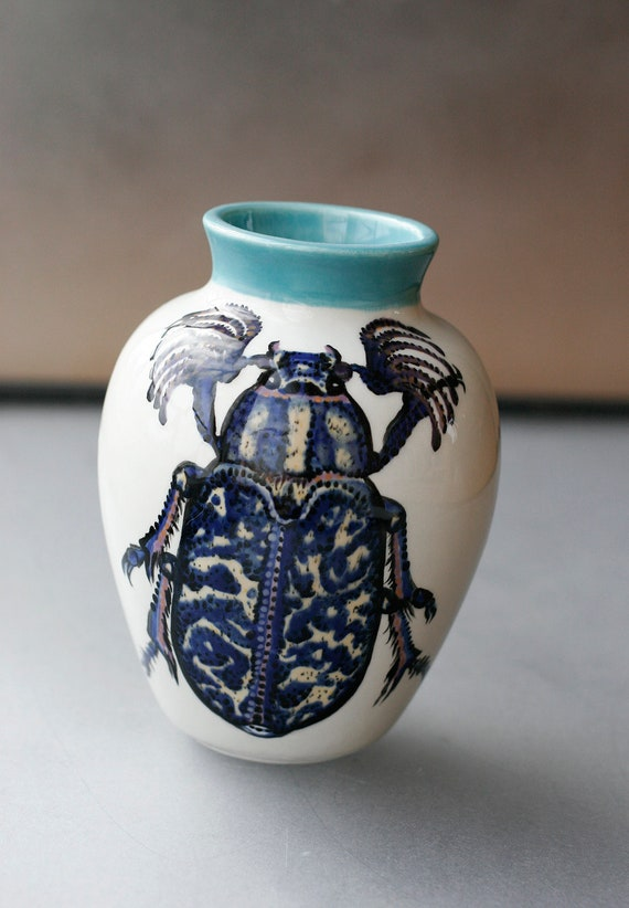 BUG OUT WARE Blue Beetle with Falsies Small Ceramic Vase