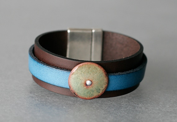 Double Layer Leather and Enamel Bracelet