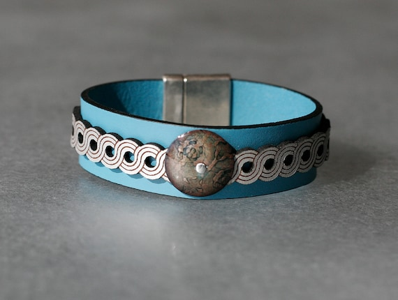 COLOR POP! Turquoise + Silver 2x Leather and Nile Green Enamel Bracelet