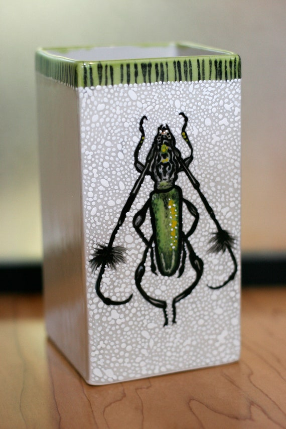 BUG OUT WARE Large Hand Painted Square Ceramic Vase