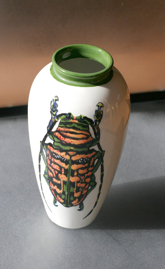 BUG OUT WARE - Large Hand Painted Grecian Style Ceramic Vase- Stag Beetle