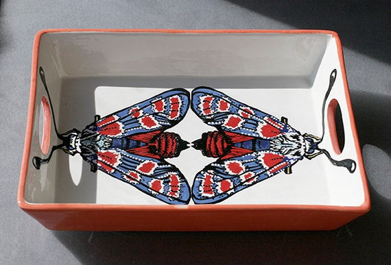 BUG OUT WARE- Lunar Moth Serving Tray with Handles