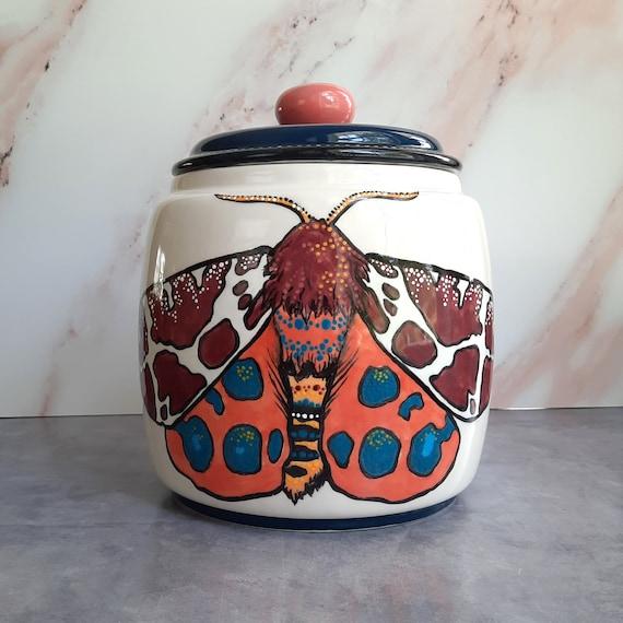 BUG OUT WARE Big Lidded Jar- Moths in Fall Fashions