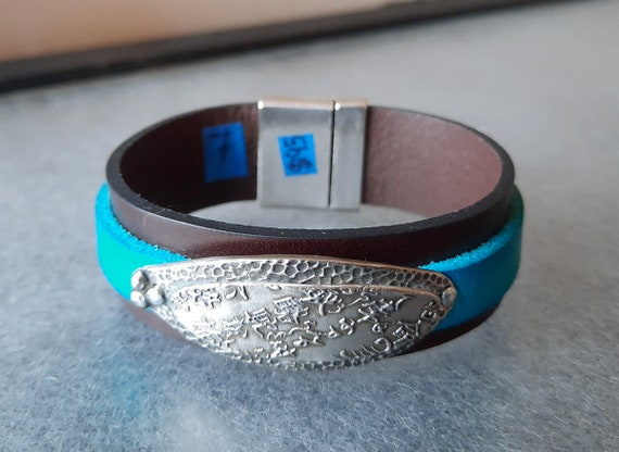 Big Helping of Fabulous Sterling Silver + Leather Bracelet