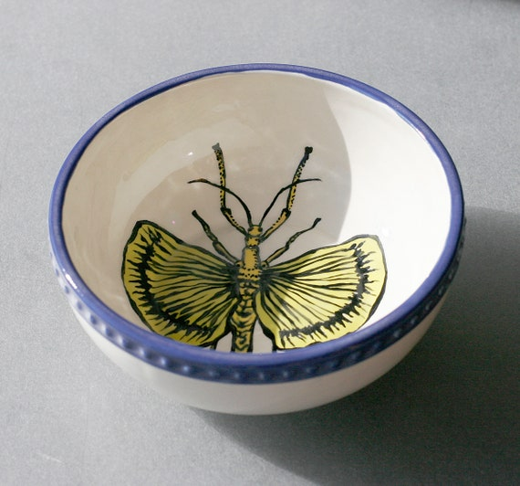 BUG OUT WARE- Yellow Cricket Blue Rim Bowl