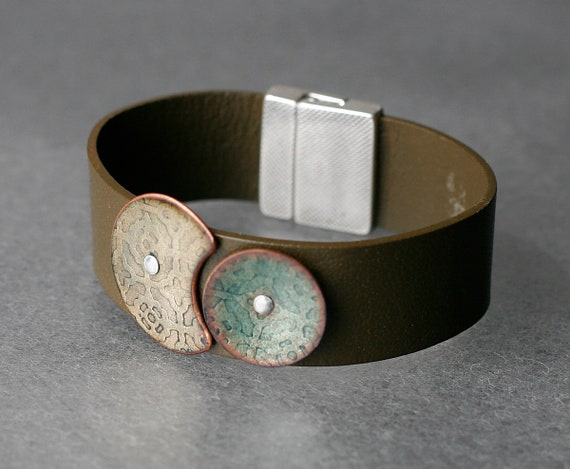 Sun and Moon Enamel & Leather Bracelet