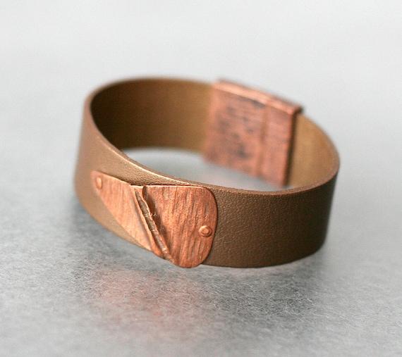Olive Green Folded Copper & Leather Bracelet