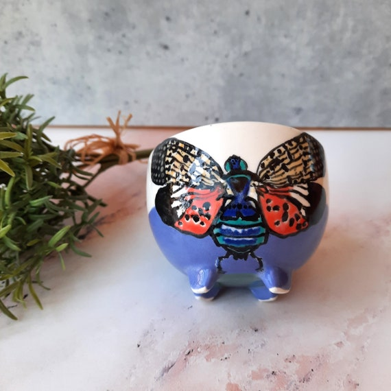 New! BUG OUT WARE Footed Teacup: Cicada