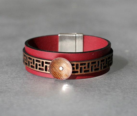 COLOR POP! Plum + Metallic Copper 2x Leather and Mandarin Enamel Bracelet