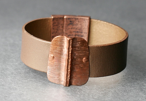 Hammered Pattern Copper & Leather Bracelet