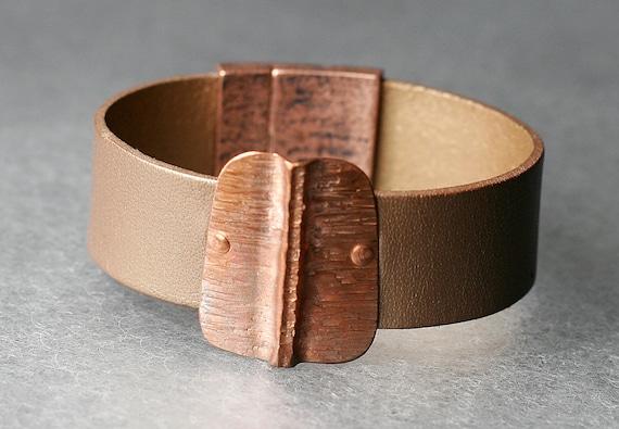 Hammered Pattern Copper & Leather Bracelet