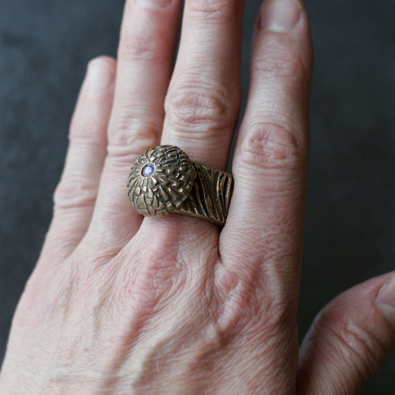 """Bronze """"I Can Buy MY OWN D*** Flowers"""" Ring (with Thick Band and 2mm Amethyst CZ)"""