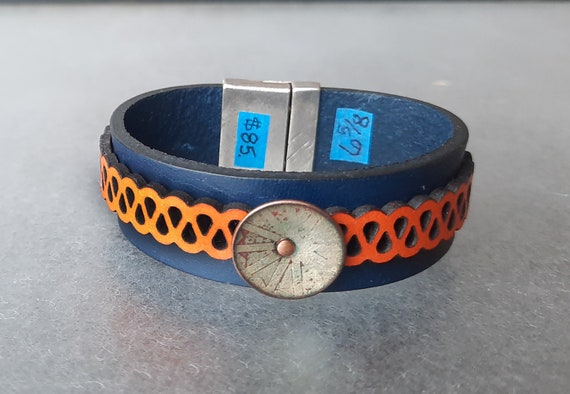 COLOR POP! Orange You Glad Itsa Leather and Chartreuse Basse-Taille Enamel Bracelet