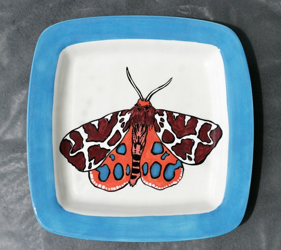 BUG OUT WARE- Square Stacking Art Plate: Blue Tiger Moth