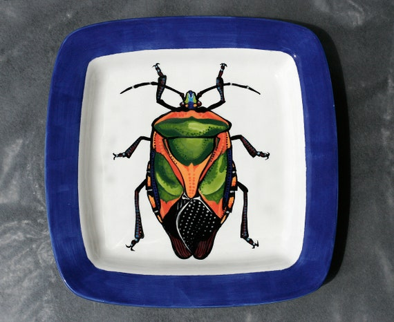 BUG OUT WARE- Square Stacking Art Plate: Rainbow Beetle