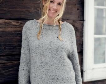 KNITTING PATTERN - Raglan Tweed Sweater - English Written Pattern - One Size - Direct Download PDF