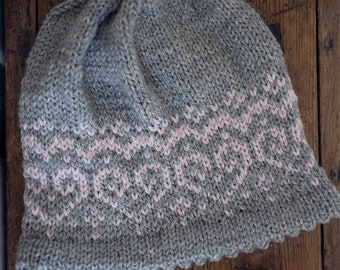 Knitting Pattern - Hearts Beanie - Hat - Instant Digital Download - PDF -