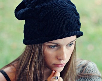 Knitting Pattern - Black Braid Beanie Beanie - Hat - Instant Digital Download - PDF -