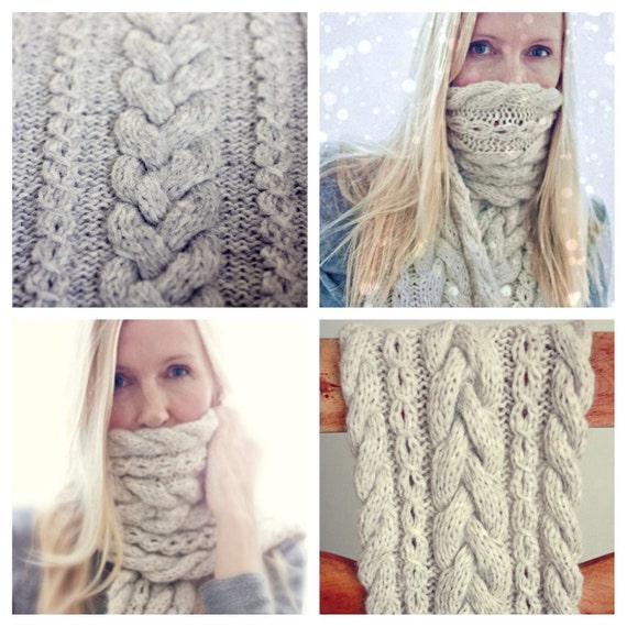 Knitting Pattern Braided Infinity Scarf Cowl Cable Knit Etsy