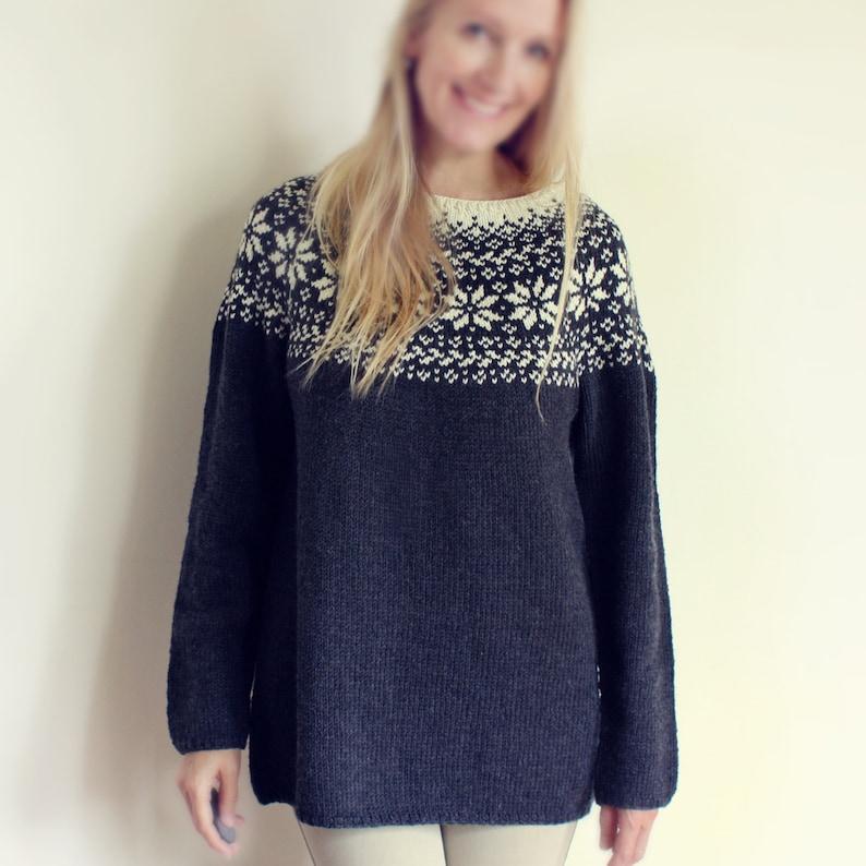 Knitting Pattern Beautiful Norwegian Sweater Loose fit | Etsy