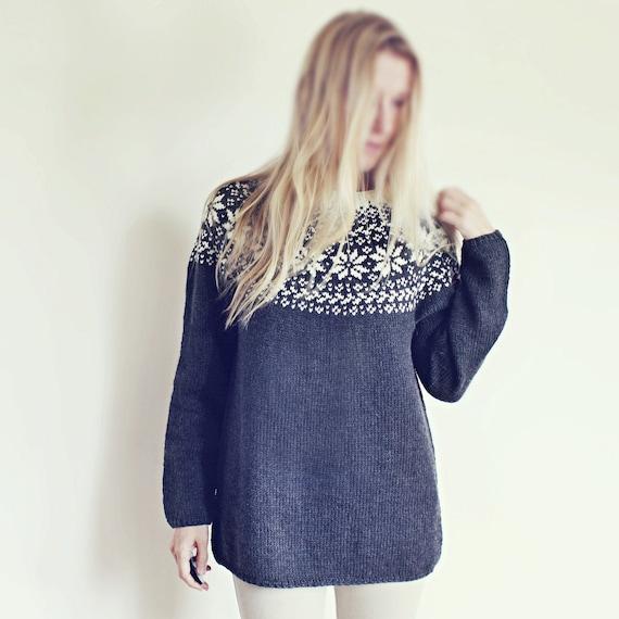 Knitting Pattern Beautiful Norwegian Sweater Loose Fit Etsy