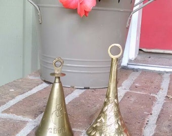Vintage Bells of Sarna India/ set of two/ good luck Bell/ engraved bell