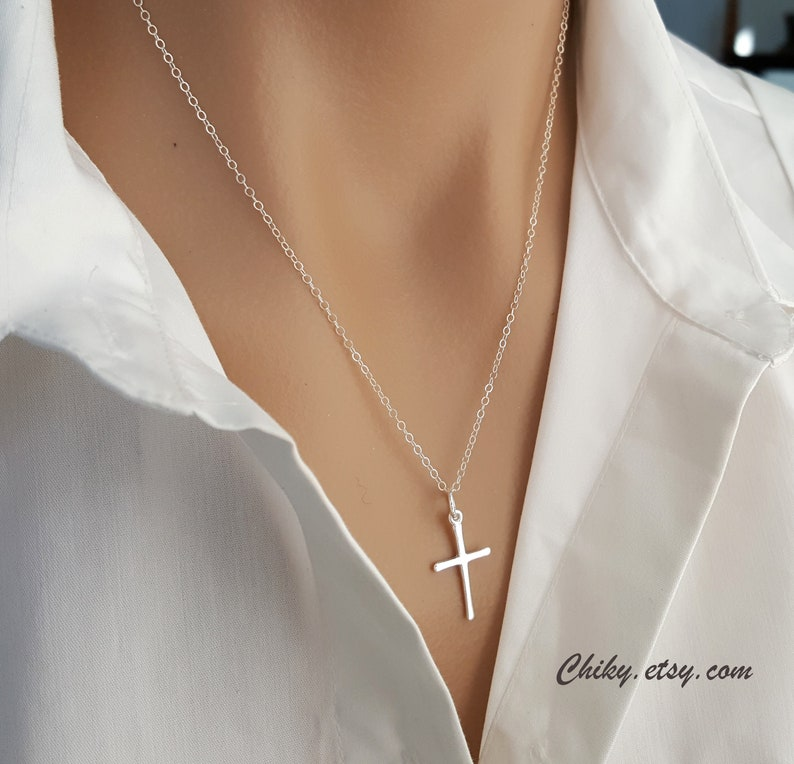 676a8ded268554 Delicate Sterling Silver simple Cross Pendant Necklace Cross | Etsy