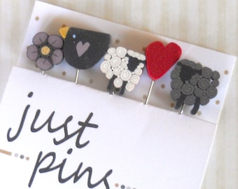 SHEEP-N-HEART. Just Another Button Company, Just Pins, Sheep quilting pins, Stick Pins Perfect for Decorating Ornaments & Pin Cushions.