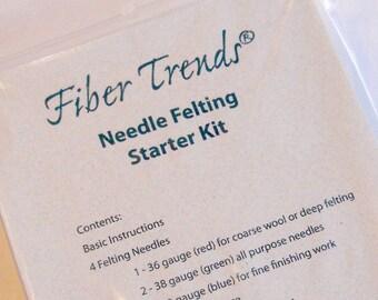 NEEDLE FELTING KIT. Fiber Trends Needle Felting Starter Kit. Foam Pad and 4 Needles.