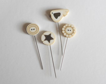 Sale. QUILTING PINS, just another button company, polymer clay pins, decorative pins for pincushions